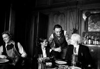 Harry Benson, 'Andy Warhol, Jamie Wyeth, Larry Rivers, and Bianca Jagger', 1977