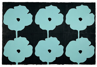 Donald Sultan, 'Six Aqua Poppies July 3 2004', 2004