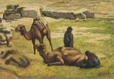 Shlomo Itzkovitch, 'Pastoral Landscape Palestine/Israel Camels and Shepherds', 20th Century