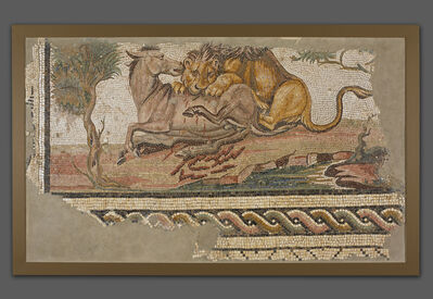 'Mosaic of a Lion Attacking an Onager', ca. 150