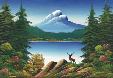 Levine Flexhaug, 'Untitled (Mountain lake with deer)', n.d.