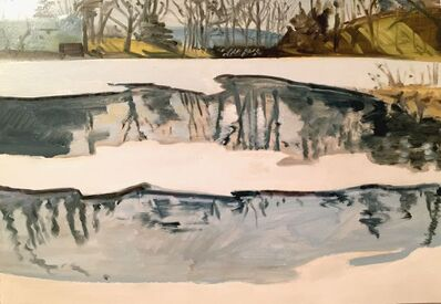 Lois Dodd, 'Feb 23 '85 (Blair Pond)', 1985