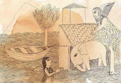 "Badri Narayan, 'Welcoming the Young Elephant, Drawing on Paper by Padmashree Artist ""In Stock""', 2011"