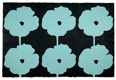 Donald Sultan, 'Six Aqua Poppies July 3 2004', 2004