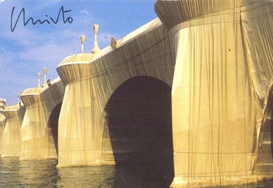 "Christo, 'Prospective Card for ""Christo: The Pont Neuf Wrapped"" (Hand Signed by both Jeanne-Claude and Christo), from the Estate of Aviva and Jacob Bal Teshuva ', 1985"