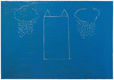 Joan Hernández Pijuan, 'Casa núvols i pluja sobre blau', 1990