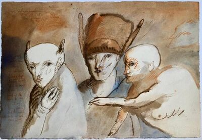 Gary Hansmann, 'Modern Figurative Surrealism Watercolor Painting, Drawing 'Faces of Deceit' ', 1980-1989