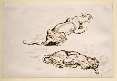 Eugène Delacroix, 'Two Studies of a Lionness', 1810-1863