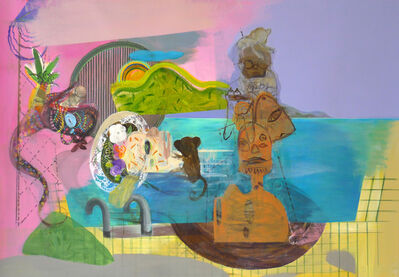 Yasemin Senel, 'Ophelia in the swimmingpool with monkeys and a contemporary sculpture', 2019