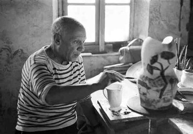 Yves Manciet, 'Picasso painting a gothic pitcher, Madoura, Vallauris', 1953