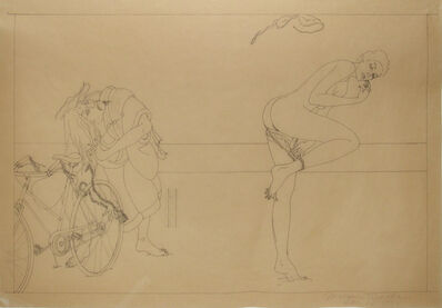 Masami Teraoka, 'Venice Nude Beach/Study for Woman and Bicycle', 1974