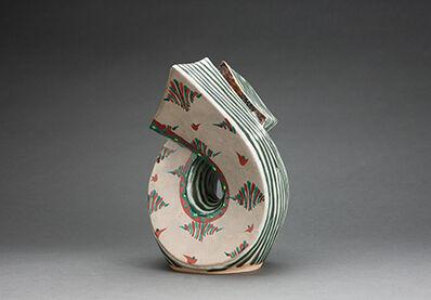 Tomoo Hamada, 'Tie vase, blue and white glazes with akae decoration'