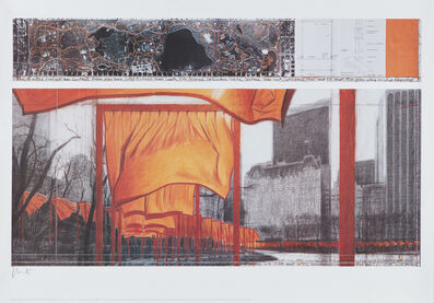 Christo, 'The Gates: Project for Central Park, New York City, XIX, Drawing in two parts', 2003