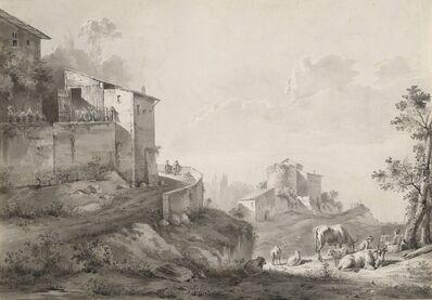 Jean-Jacques de Boissieu, 'A Sunlit Landscape with Hilltop Houses', ca. 1782