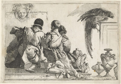 Giovanni Domenico Tiepolo, 'Kneeling Pages, a Mask, and a Parrot', 1770s