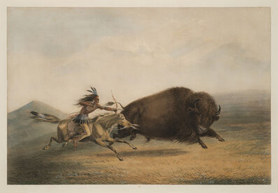 George Catlin, 'Buffalo Hunt, Chase - No. 5', 1844