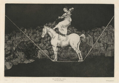 Francisco de Goya, 'Bailando en una cuerda floja (Dancing on a slack rope, i.e. Skating on thin ice), or Disparate puntual (Punctual Folly), from Los Proverbios (The Proverbs)', Early 19th century