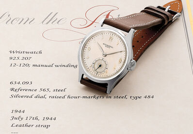 Patek Philippe, 'A very fine and rare stainless steel wristwatch with silvered dial and subsidiary seconds', 1944