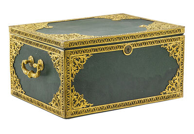 E.F. Caldwell, 'E.F. Caldwell Gilt Bronze Mounted Leather Casket', early 20th c.