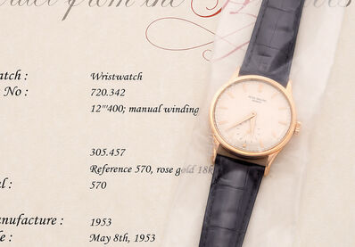 Patek Philippe, 'A very fine and attractive pink gold wristwatch with small seconds', 1953
