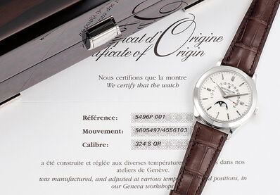 Patek Philippe, 'A fine and attractive platinum perpetual calendar wristwatch with sweep center seconds, retrograde date indicator, day, month, moon phases, leap year indicator, certificate and presentation box', 2011
