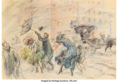 Everett Shinn, 'Windy Day, New York', 1898