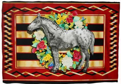 David Wharton, 'Red Blanket Series with Appaloosa and Floral Wreath'