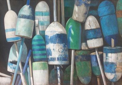 "Michel Brosseau, '""Buoy Bouquet"" photorealistic oil painting of vibrant blue, white and green buoys on linen', 2017"