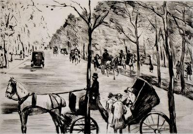 Lesser Ury, 'Avenue in the Tiergarten with Carriage in the Foreground | Allee im Tiergarten mit Kutsche im Vordergrund', 1920