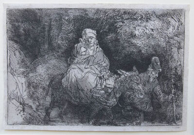 Rembrandt van Rijn, 'The Flight into Egypt, Crossing Over a Creek', 1654
