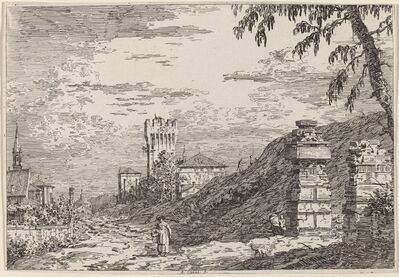 Canaletto, 'Landscape with Tower and Two Ruined Pillars', ca. 1735/1746