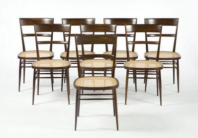 "Joaquim Tenreiro, 'Set of eight ""First Chairs"" with jacaranda frame and cane seat. ', 1942"
