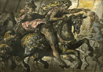 Reginald Marsh, 'Girls on a Merry Go Round and Statue of Liberty: A double sided watercolor', 1946/1929