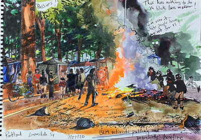 Steve Mumford, 'BLM Activists Putting out Anarchists' Bonfire in Lownsdale Square, Portland, OR, Jul. 27, 2020', 2020