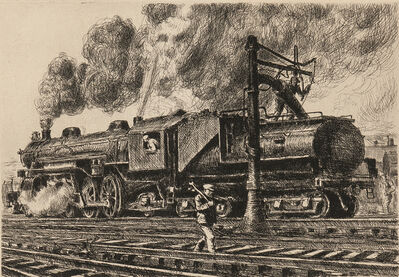 Reginald Marsh, 'Loco - Erie Watering', 1929