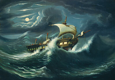 Thomas Chambers, 'Storm-Tossed Frigate', mid 19th century