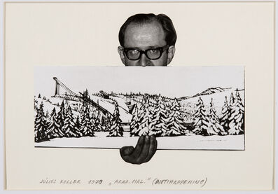 Július Koller, 'Untitled (Artist with Landscape)', 1970