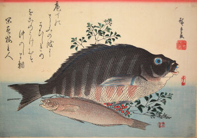 Utagawa Hiroshige (Andō Hiroshige), 'Shimadai (Striped Sea Bream) and Ainame (Rock-Trout)', ca. 1840