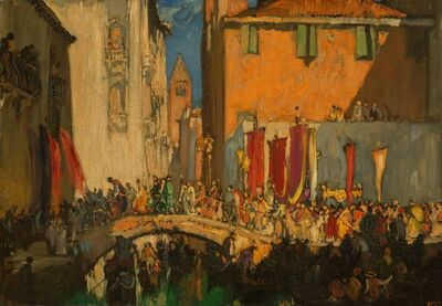 Sir Frank Brangwyn, 'A procession from the Church of San Barnaba, Venice'