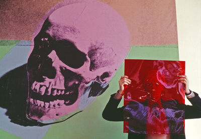 "Thomas Hoepker, 'Andy Warhol with a pink skull painting in his ""Factory"" at Union Square', 1981"