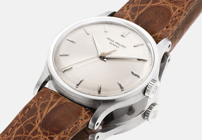 Patek Philippe, 'A fine, very rare and attractive white gold wristwatch with sweep center seconds, silvered dial, extract from the archives and presentation box', 1965
