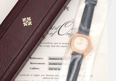Patek Philippe, 'A fine and attractive pink gold wristwatch with date, sweep center seconds, certificate of origin and presentation box, single sealed', 2005