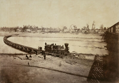 Alexander Gardner, 'Leavenworth, Lawrence, and Galveston Railroad Bridge across the Kaw River at Lawrence, Kansas', 1867