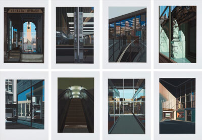 Richard Estes, 'Urban Landscapes No. 2 (Big Diamonds; Choc Full O'Nuts; 4 1/2 % Interest; Pressing Machinery; Piccadilly Station; Venezia Murano; The Ginger Man; Supermarket, San Francisco)', 1979