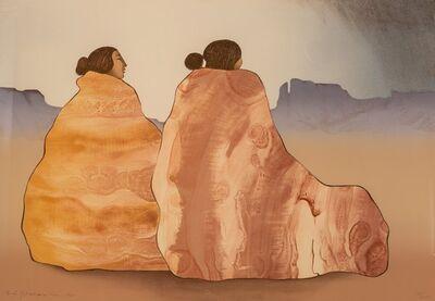 R.C. Gorman, 'Two Women on Rock Texture Blanket', 1981