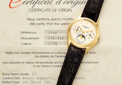 Patek Philippe, 'A fine, very rare and early yellow gold perpetual calendar wristwatch with moon phases, 24 hours indication and certificate', 1987