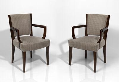 Eugène Printz, 'Set of four walnut armchairs'