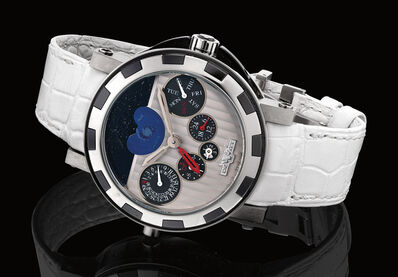 Dewitt, 'A very fine and rare limited edition white gold, titanium and black ceramic wristwatch with perpetual calendar, dual time, moon phases and presentation box, numbered 2 of a limited edition of 99 pieces', Circa 2010