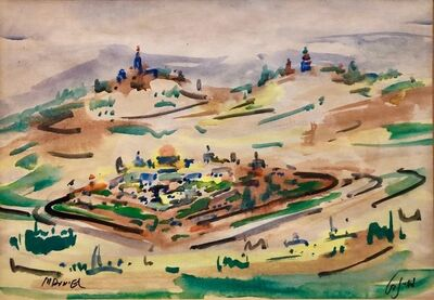 Mordechai Avniel, 'Israeli Modernist Watercolor Painting Jerusalem Landscaape Bezalel School', 20th Century