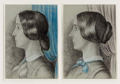 Edward Durnford, 'Pair of courtship drawings of Julia', 1852 and 1853